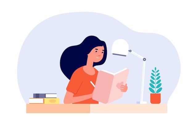 Diario della ragazza. la donna scrive il diario. Vettore Premium