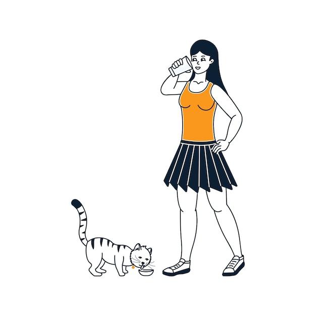 Ragazza che beve latte con illustrazione di gatti su sfondo bianco Vettore Premium