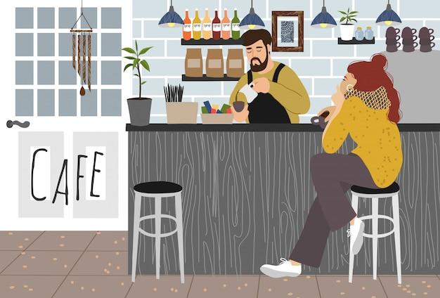 La ragazza beve il caffè in un bar e un barista Vettore Premium