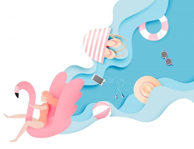 La ragazza che galleggia sulla spiaggia con il fenicottero con la bella carta del fondo del mare ha tagliato l'illustrazione di vettore di stile Vettore Premium