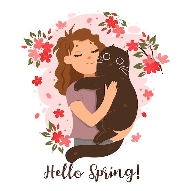 Ragazza con un gatto in braccio. ciao primavera! Vettore Premium