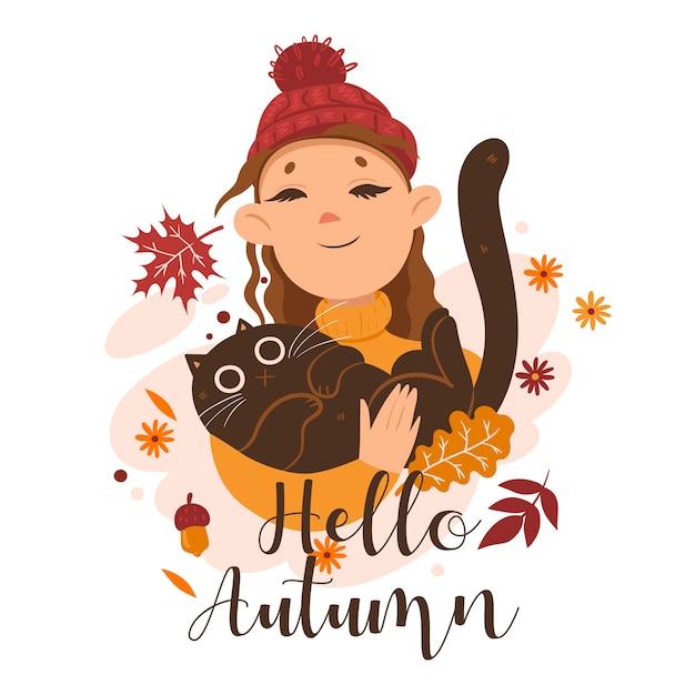 Ragazza che tiene un gatto in braccio e la scritta hello autumn. grafica Vettore Premium