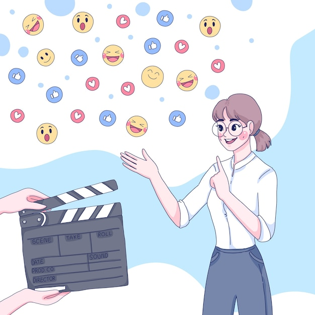 La ragazza è l'illustrazione del fumetto in streaming live Vettore Premium