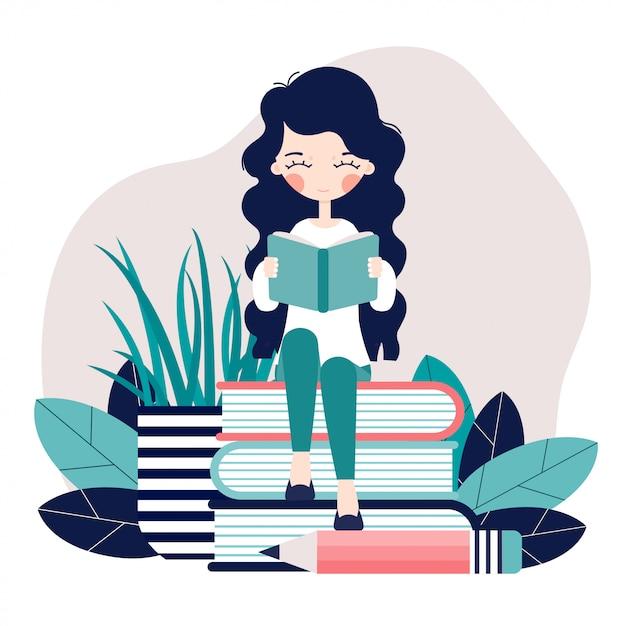 Una ragazza è seduta e sta leggendo un libro. Vettore Premium