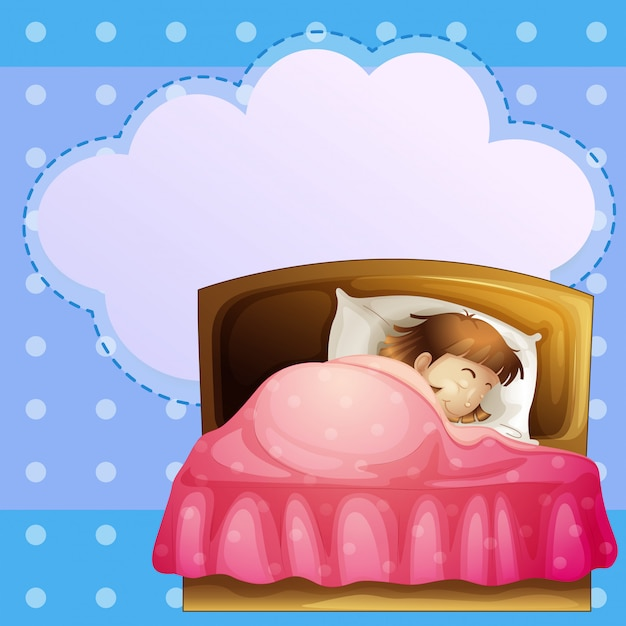 Una ragazza che dorme profondamente con un richiamo vuoto Vettore Premium