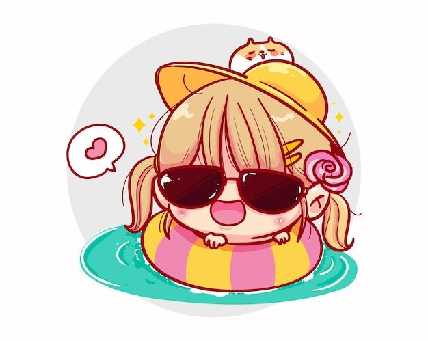 Una ragazza che nuota in piscina e design dei personaggi estivi Vettore Premium