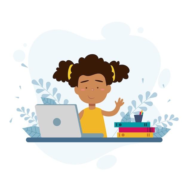 Ragazza prendendo lezioni online Vettore Premium