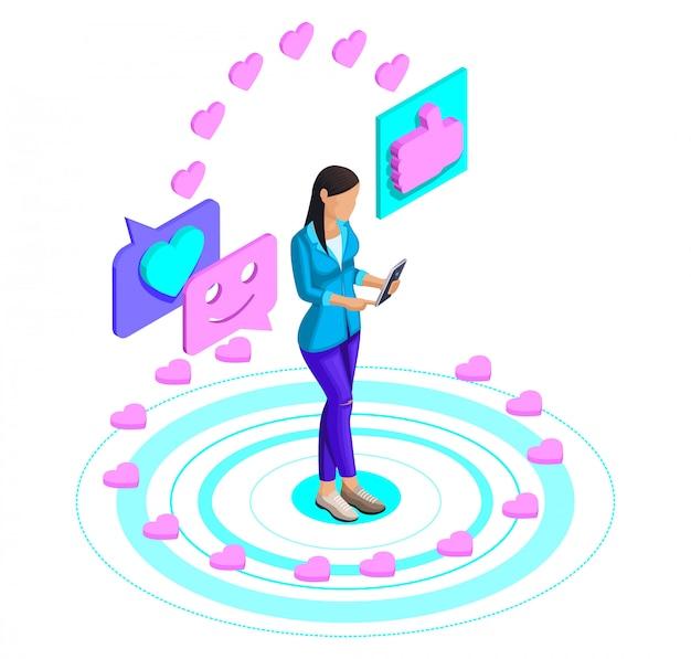 Di una ragazza che guarda un video su un social network, mette like su uno smartphone, video blog, comunicazione su internet. amo il concetto luminoso Vettore Premium