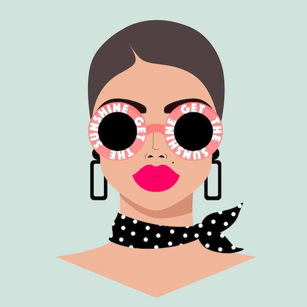 Ragazza che indossa occhiali da sole alla moda. bel volto femminile. locandina estiva per web e stampa. Vettore Premium