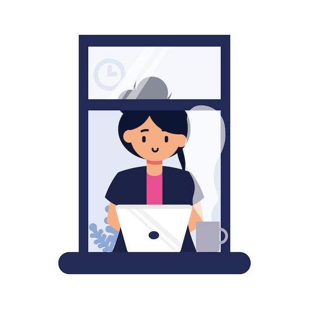 Ragazza che lavora vicino alla finestra Vettore Premium