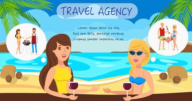 Girlfriends st sea resort personaggi dei cartoni animati. Vettore Premium