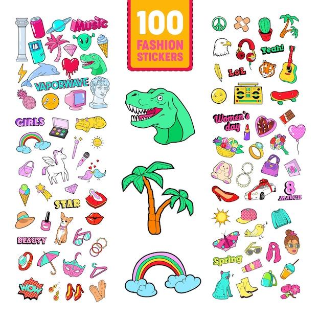 Doodle da ragazzina con arcobaleno e unicorno Vettore Premium