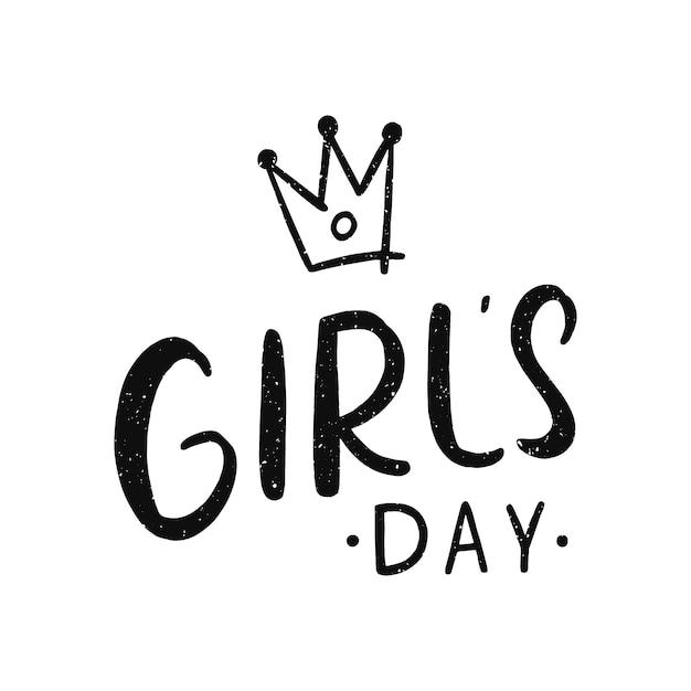 Lettering di giorno delle ragazze Vettore Premium