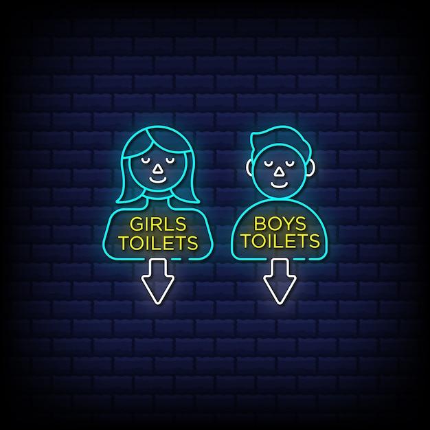 Toilette per ragazze e toilette per ragazzi insegne al neon in stile testo - icona identità bagno pubblico Vettore Premium