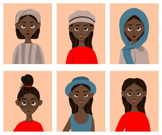 Ragazze con diverse espressioni facciali ed emozioni. stile cartone animato. illustrazione. Vettore Premium