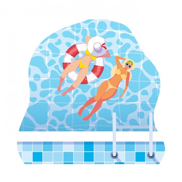 Ragazze con costume da bagno e bagnino galleggiano in acqua Vettore Premium