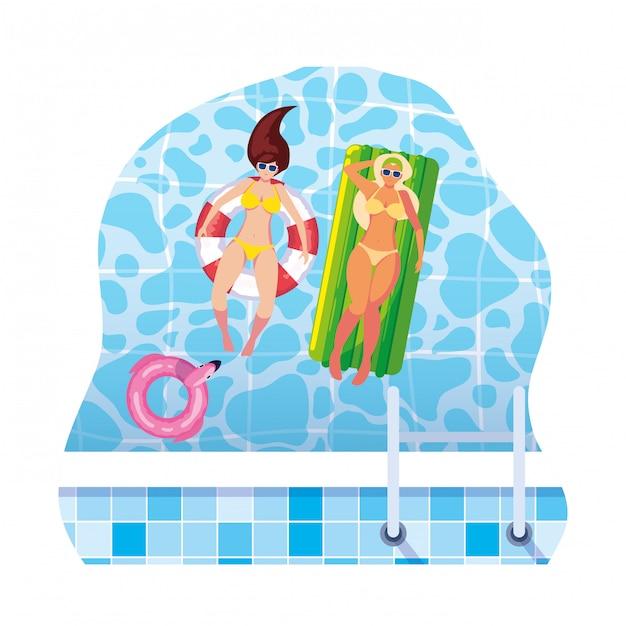 Ragazze con costume da bagno in bagnino e materasso galleggiano in acqua Vettore Premium