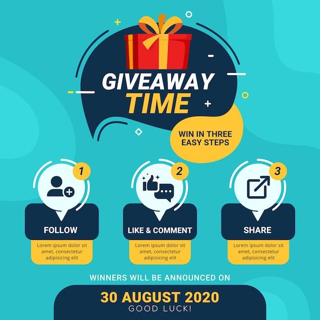 Passaggi gratuiti per il concetto di design del concorso sui social media Vettore Premium