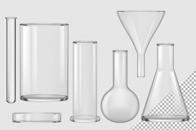 Pallone di vetro. imbuto realistico vuoto del filtro chimico, lampadina, provetta, becher, raccolta della capsula di petri. attrezzatura per vetreria per matraccio da laboratorio per chimica e biologia Vettore Premium