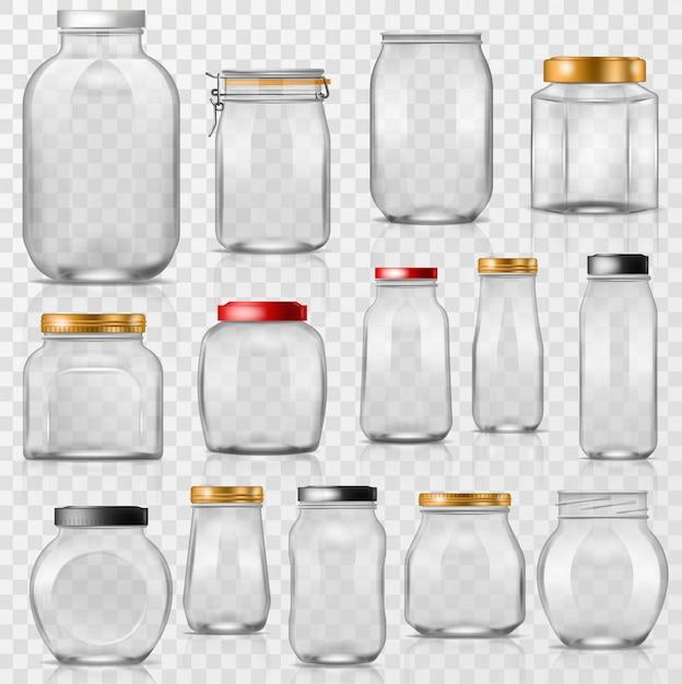 Vaso di vetro vettore vuoto mason glassware con coperchio o coperchio per conserve e conservazione illustrazione set di bicchieri di contenitore o coppettazione isolato su trasparente Vettore Premium