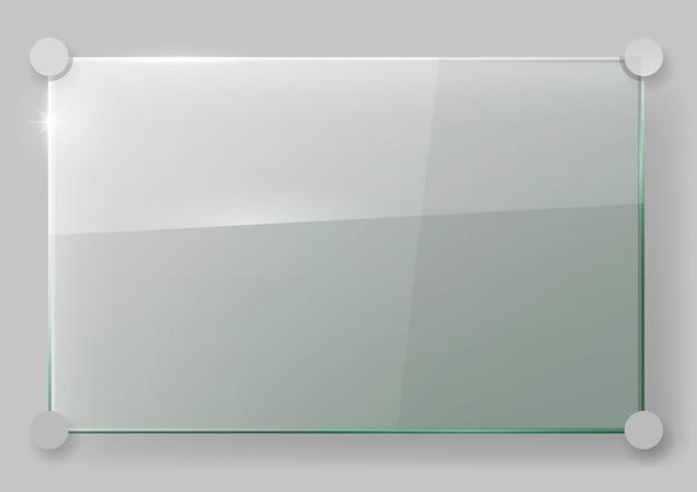Lastra di vetro sul muro Vettore Premium