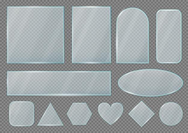 Forme di lastre e cornici in vetro, effetto trasparente realistico Vettore Premium