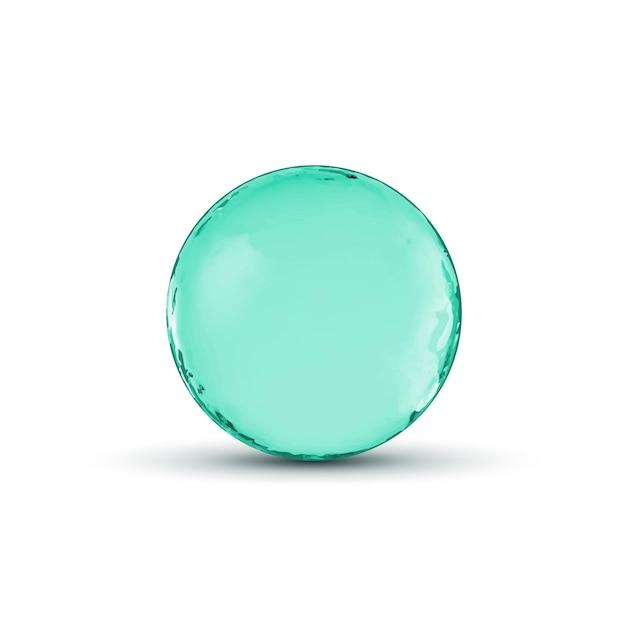 Design della sfera della sfera di vetro. cerchio lucido o bolla con ombra. illustrazione astratta. Vettore Premium