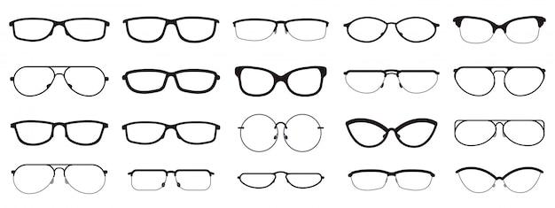 Montature per occhiali. sagome di occhiali, montature per occhiali, montature per lenti ottiche, occhiali hipster. icone dell'illustrazione di occhiali di ottica di modo messe. occhiali da vista hipster, lenti, montature per occhiali Vettore Premium