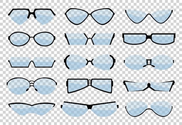 Occhiali line art silhouette, occhiali e accessori ottici. set oculare classico medico. Vettore Premium