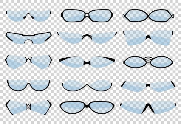 Occhiali silhouette, occhiali da vista e accessorio ottico. varie forme. Vettore Premium