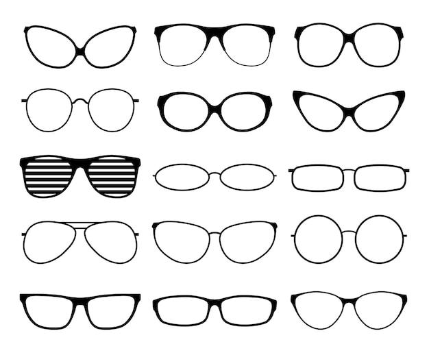 Sagome di occhiali. montature per occhiali da sole alla moda, occhiali neri. occhiali da geek e hipster. occhiali uomo donna. Vettore Premium
