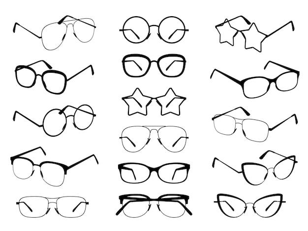 Sagome di occhiali Vettore Premium