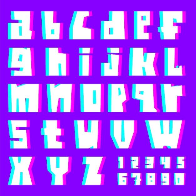 Alfabeto, lettere e numeri di glitch Vettore Premium