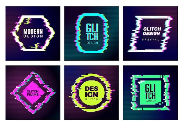 Schede glitch. abstract distorshion frame danneggiato quadrati glitched forme geometriche alla moda forme vettoriali modelli di identità. colore glitch frame, rombo e illustrazione di distorsione rotonda Vettore Premium