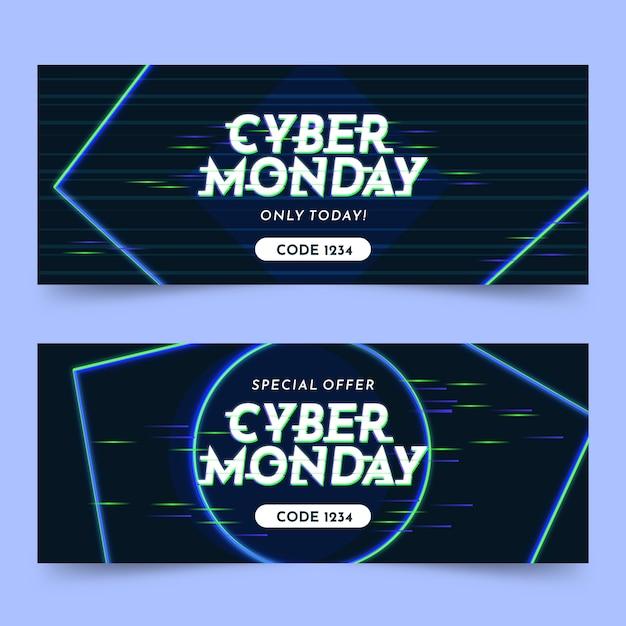 Banner di cyber lunedì glitch Vettore Premium