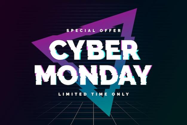 Glitch cyber lunedì concetto Vettore Premium