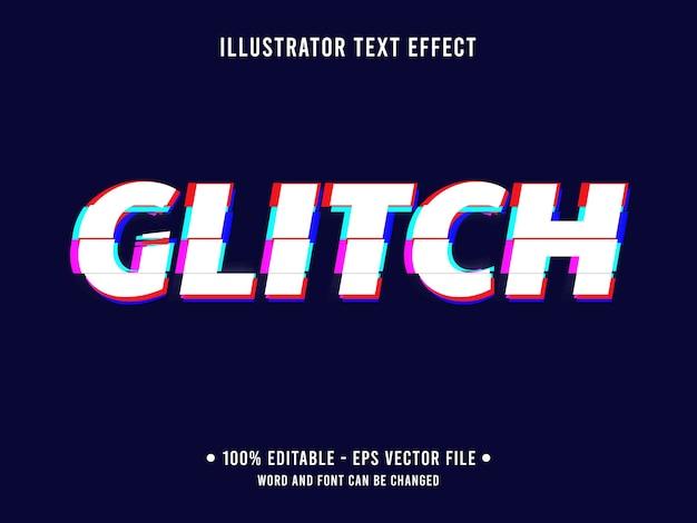 Glitch testo modificabile effetto stile moderno Vettore Premium