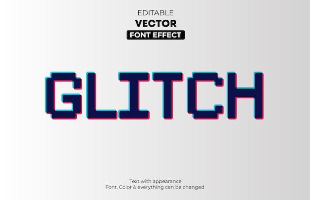 Glitch effetto testo modificabile Vettore Premium