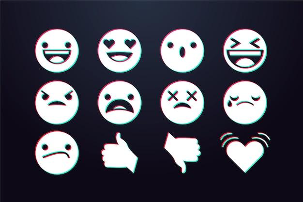 Pacchetto emoji glitch Vettore Premium