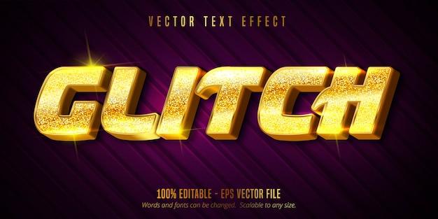Testo glitch, effetto di testo modificabile di colore dorato di lusso su sfondo con texture Vettore Premium