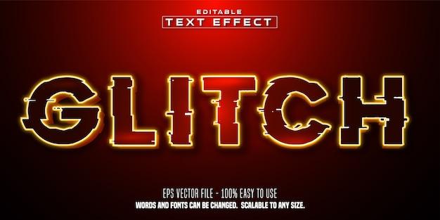 Testo glitch, effetto di testo modificabile in stile colore rosso Vettore Premium