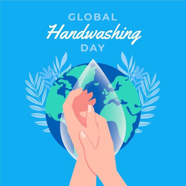 Illustrazione di giorno di lavaggio delle mani globale Vettore Premium