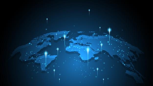 Connessione di rete globale mappa del mondo astratto tecnologia sfondo Vettore Premium