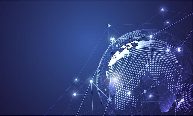 Connessione di rete globale composizione del punto e della linea della mappa del mondo Vettore Premium