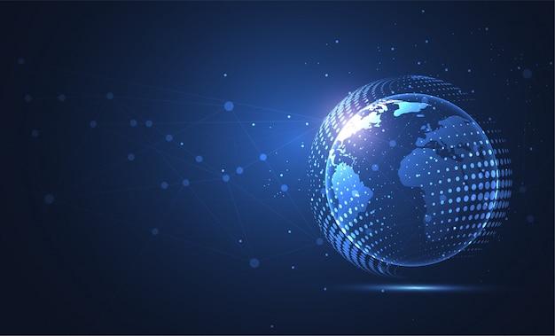 Connessione di rete globale. punto della mappa del mondo e composizione della linea Vettore Premium