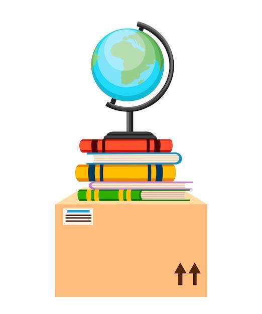 Globo, libri e scatola di cartone. . illustrazione su sfondo bianco Vettore Premium