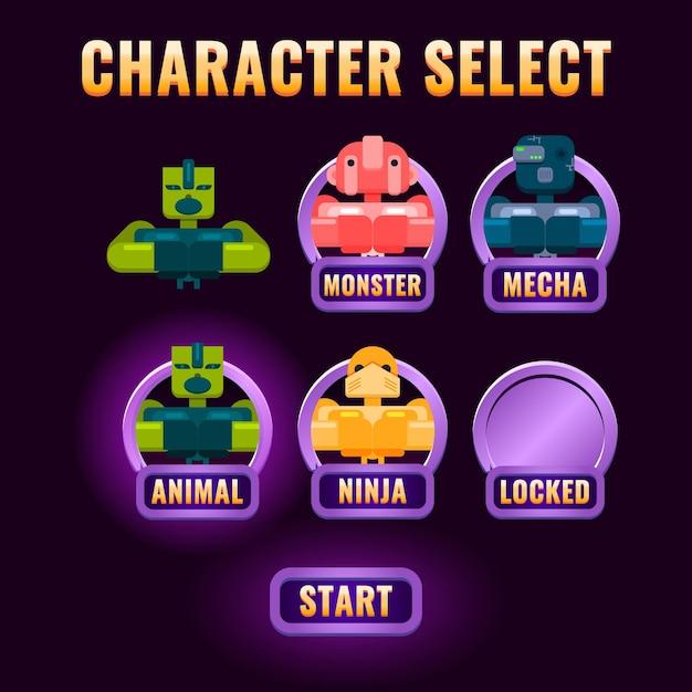 Pop-up di selezione del personaggio dell'interfaccia utente del gioco fantasy lucido Vettore Premium