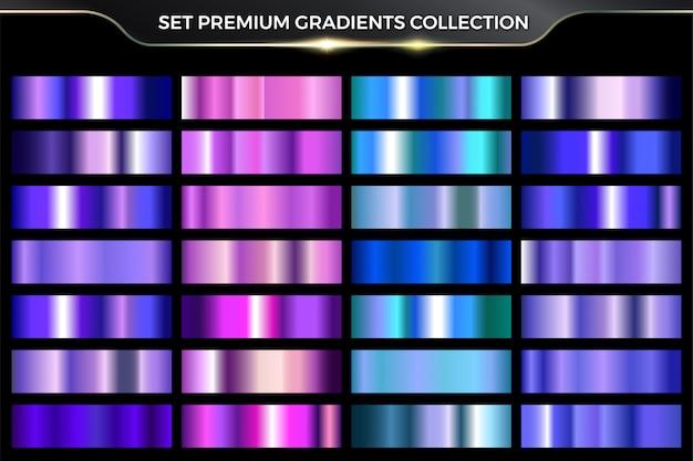 Collezione di set colorati sfumati rosa, viola, ciano, blu metallizzati lucidi al neon lucidi Vettore Premium