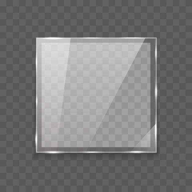 Banner di vetro rettangolo lucido con luci Vettore Premium
