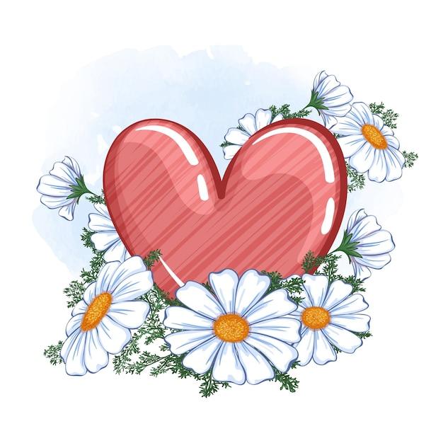 Cuore rosso lucido con trama rigata e bouquet di margherite Vettore Premium